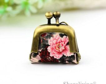 1pcs Vintage Flower Tiny Leather Purse Necklace, Handmade  Antique Bronze / Silver Photo Purse Pendant / Charm - PL001B
