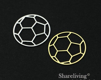 Exclusive - 4pcs  Silver / Gold Plated Brass Football Charm / Pendant, High Quality, Fit For Necklace, Earring, Brooch