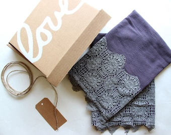 Set of 2 with Gift Box - Purple Hand Dyed Tea Towel with Lace Trim - Vintage Style Tea Towel