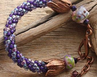 PURPLE TULIPS - Handmade lampwork Beads, Hand Woven Glass Beads, Copper Bracelet