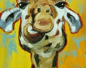 Giraffe #13 -  12x24 inch animal original oil painting by Roz