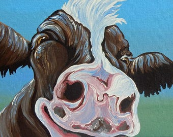 Brown Cow Farm Art 8 x 8 Original Canvas Painting -Carla Smale