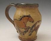 Extra Large mug with slip trailed  horses