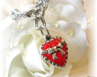 Vintage Style Puffy Heart Charm Bracelet Red Enamel Bow Heart 925 Sterling Silver