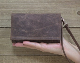 Cell Phone Smart Wallet Wristlet, Crossbody Ready, Unique Gift for iPhone 6 or 7 Plus, Samsing Galaxy Nexus LG Moto X / Brown Waxed Canvas