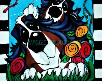 bernese mountain dog garden mothers day spring black white checker happy  bmd 10x10 maggie brudos painting Original whimsical DOG art