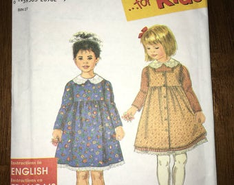 Uncut 1997 Simplicity Child's Dress & Pinafore Pattern with Lace Collar No. 7919 - Size 3 4 5 6 YMA47R