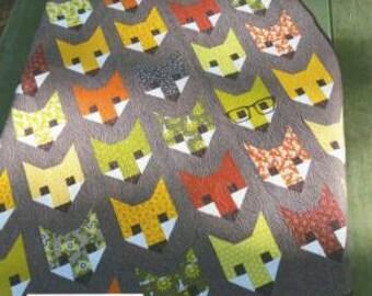Fancy Fox Quilt Pattern by Elizabeth Hartman - Modern Fox Quilt Pattern Baby, Lap, Twin