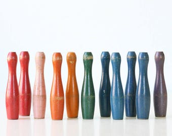 Vintage Skittles, Pins, Rainbow of Colors, Set of 11, Little Bowling Pins