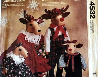 Vintage Sewing Pattern Reindeer Dolls by Faye Wine McCall's 4532