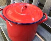 red  enamelware pot number 16  vintage