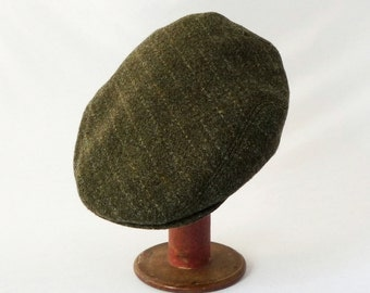 Newsboy Hat, Flat Cap, Olive Green Wool, Pin Stripes, Mens Wool Caps, Stylish Hat, Winter Hat, Everyday Hat, Mens Hat, Ivy Cap, Drivers Cap