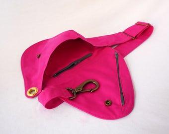 Fanny Pack, Hot Pink Cotton, Belt Bag, Hip Bag, Festival Bag, Bum Bag, Travel Bag, Boho Bag, Duck Canvas, Gray Cotton Bag, Adjustable Strap