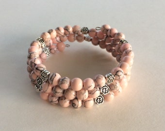 Pink Turquoise bracelet silver flower accent beads memory wire