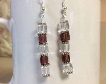 Purple clear glass cube earrings