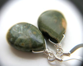 Dark Green Earrings . Green Stone Earrings . Green Teardrop Earrings . Rhyolite Earrings . Natural Stone Earring - Boa Collection