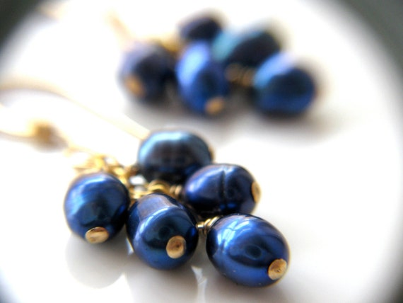 June Birthstone Earrings . Sapphire Blue and Gold Earrings . Cobalt Blue Pearl Cluster Earrings . Blue Pearl Earrings - Elektra Collection