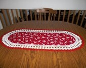 Valentine Table Runner, Valentine's Day Table Runner, Cherubs Red Background 16 X 37 1/2 Centerpiece Table Topper Dresser Scarf Gift Holiday