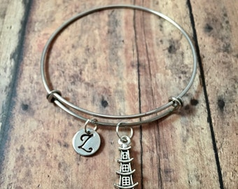 Pagoda initial bangle - pagoda jewelry, temple bangle, Chinese pagoda bracelet, shrine jewelry, silver pagoda bracelet, Asian jewelry