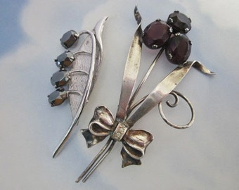 Vintage Sterling Flower Brooches