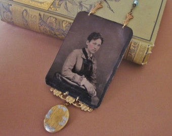 Antique Tintype Necklace Assemblage with Locket. Miss Adeline