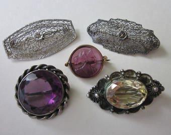 Jewelry DeStash 5 Antique Brooches