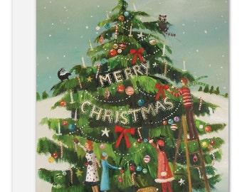 The Peppermint Family Trim The Tree. Christmas Card. SKU JH1127