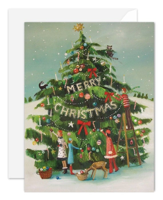 The Peppermint Family Trim The Tree. Christmas Card. SKU JH1127