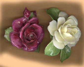 vintage porcelain flowers INSPIRATION big BOLD flowers repurpose articulated texture TWO large flowers