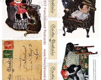 Art Deco Carte Postale French Script Baby Dogs Furniture Stripes and Diamonds Digital 8x10 Page