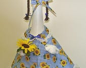 """Summer or Fall sunflower outfit for 24-27"""" lawn cement geese or goose"""