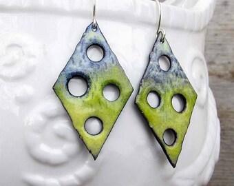 Green earrings - boho earrings - torch fire rustic enamel Artisan jewelry