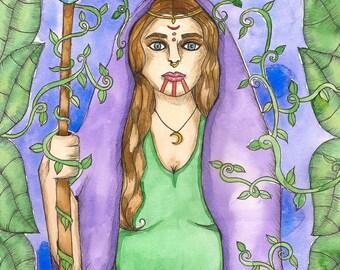 Mystical Spiritual Art Priestess Druidess Art Print Goddess Witchcraft Art Druid Fantasy Art Divine Feminine Sacred Pagan Mythology Altar