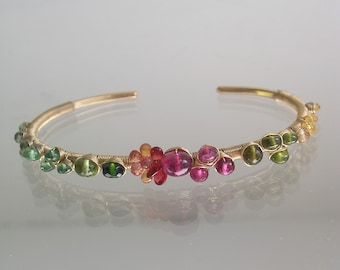 Color Fueled Gemstone 14k Gold Filled Cuff, Tourmaline Wire Wrapped Bracelet, Sapphires, Tsavorite, Artisan Made, Original Design, Signature