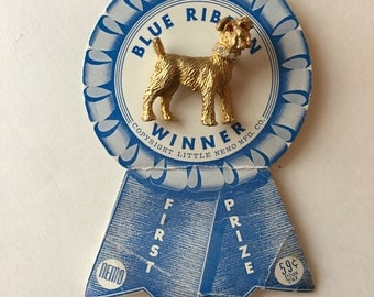 Rhinestone Dog Brooch Signed Nemo on Original Blue Ribbon Card Scottie Dog Puppy Terrier