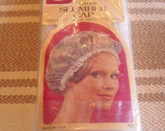 Vintage Goody Curler Cover Slumber Cap Swiss Dot with Lace Edge New