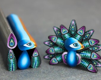 SMALL Polymer Clay Peacock Cane Kit-'Midnight in Paradise' (14cc)