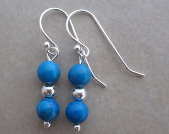 turquoise howlite sterling silver earrings