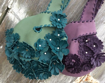 Jade Green Leather Wristlet in with Teal Blue Flowers by Stacy Leigh