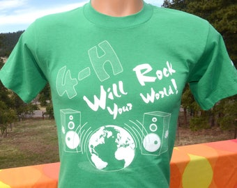 vintage 90s t-shirt 4H club rock your world music speakers tee youth 14 16 adult XS green 4-h