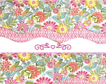 Floral Layered Scalloped Valance- Lined Window Valance - Window Treatment - Bright Floral- Multi-Color - Pink - Kitchen - Bedroom - Bathroom