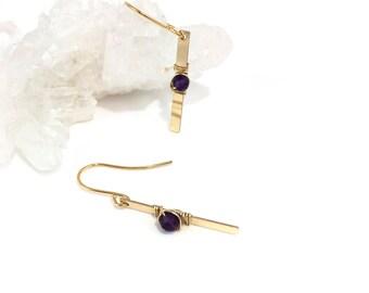 Gold Dangle Gemstone Amethyst Wire Wrapped Earrings