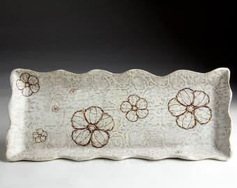 Stoneware Tray -Large Ceramic Serving Tray - Floral Textile Tapestry - Serving Platter - Textured Decorative Pottery Tray - Appetizer Tray