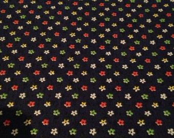 Dark Blue Small Flower Printed Vintage Cotton - Multiple Yards - Fabric Yardage /Woven Fabric /Cotton Fabric /1970s Fabric /1970s Cotton