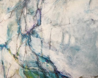 Gliclée Canvas print by lori mirabelli painting modern abstract painting blue green 12x19