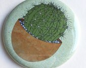 cactus pocket mirror - illustrated cacti compact mirror - plant print gift