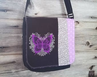 Purple Butterfly flap for MEDIUM messenger bag, changeable flap collection**FLAP ONLY**