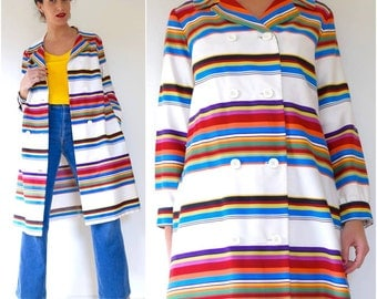SPRING SALE/ 20% off Vintage 60s 70s Rainbow Striped Double Breasted Raincoat