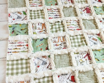 Fishing Quilt - Baby Boy Bedding - Fishing Baby Bedding - Fisherman Quilt - Trout Quilt - Gone Fishing - Minky Quilt - Fishing  Blanket