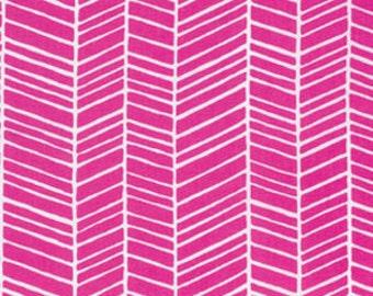 Joel Dewberry Fabric, True Colors Collection, Herringbone in Fuchsia pink, cotton quilting fabric -  YARD